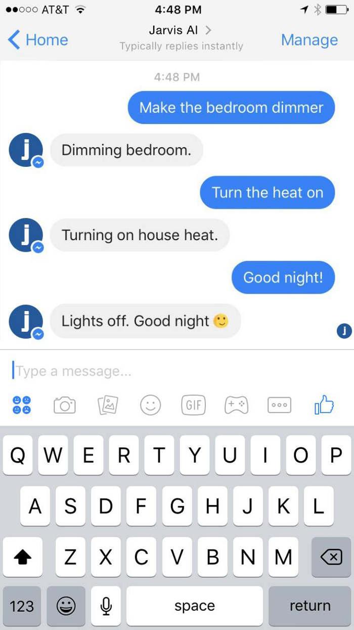 Zuckerberg se comunica con Jarvis a través de Facebook Messenger