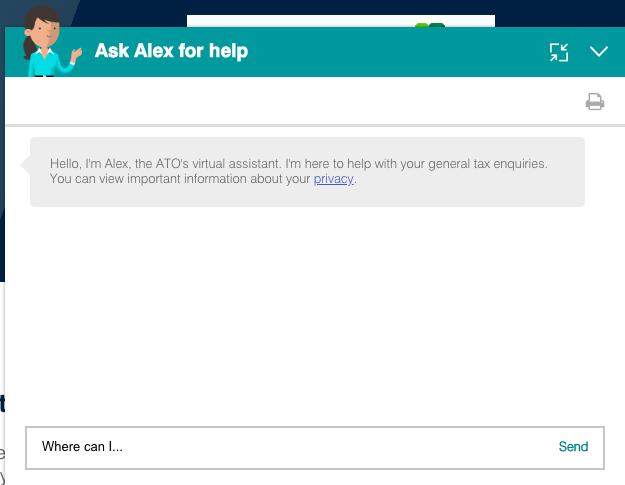 Alex, chatbot del Gobierno de Australia