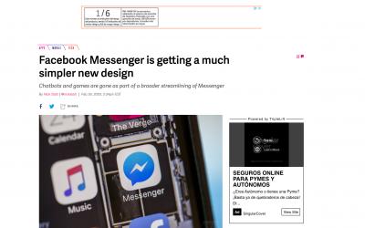 Facebook Messenger y su nuevo diseño más simple