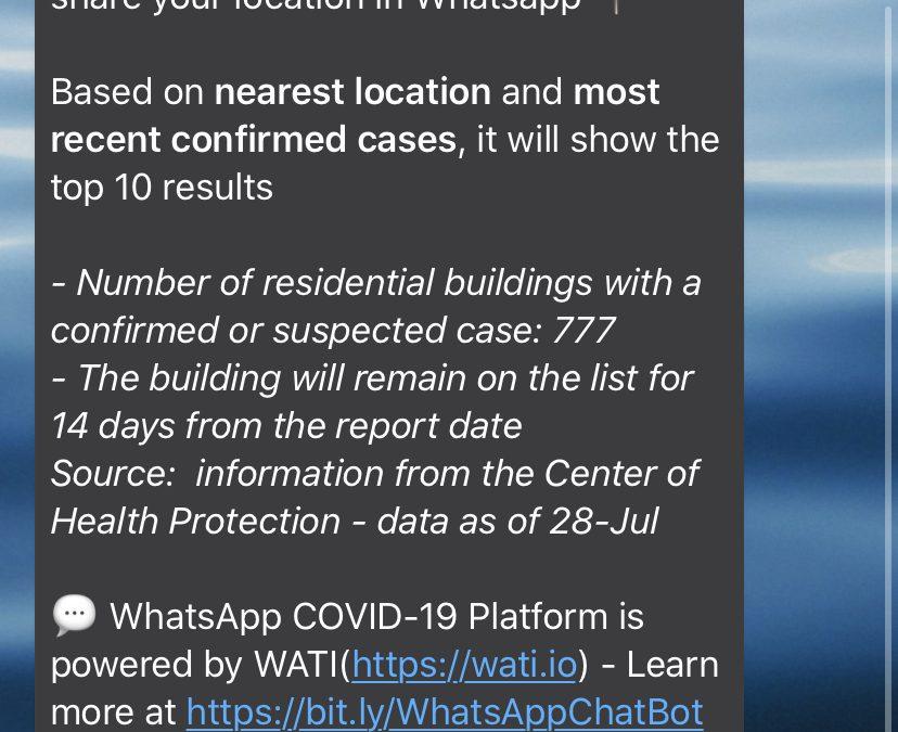 Un chatbot de WhatsApp de Hong Kong te permite saber si hay alguien contagiado por COVID-19 en tu edificio
